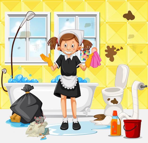 Une femme de ménage sale salle de bains