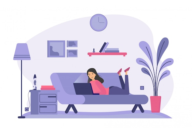 Femme, mensonge, divan, utilisation, ordinateur portable