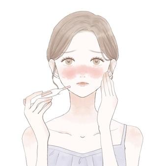 Femme mesurant la chaleur avec un thermomètre. sur un fond blanc.