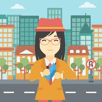 Femme mettant une enveloppe dans la poche.