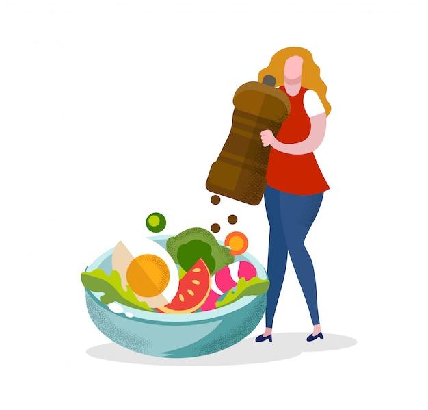 Femme, mettre, poivre, épice, dans, salade, fille cuisine