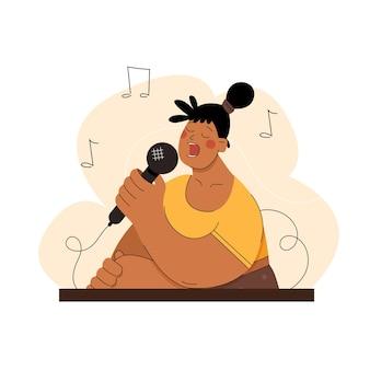 Femme avec microphone chante des chansons en karaoké