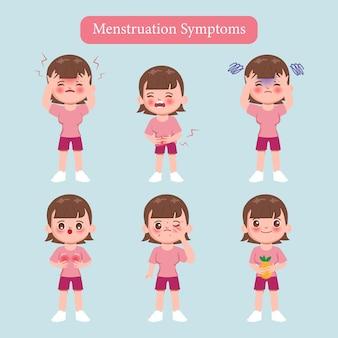 Femme Mignonne De Dessin Animé Des Symptômes De La Menstruation. Vecteur Premium