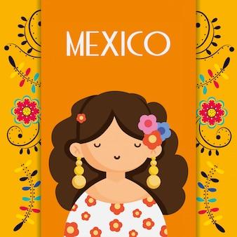 Femme mignonne avec des fleurs en tête mexique décoration florale traditionnelle carte carte vectorielle