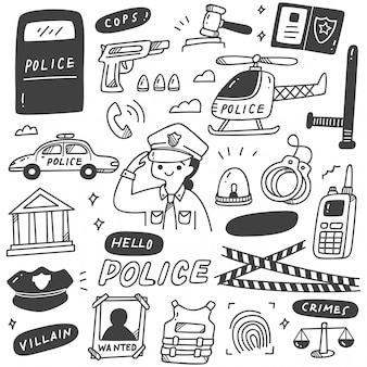 Femme mignonne de police et objets connexes