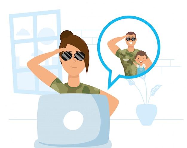 Femme militaire utilisant un ordinateur portable pour communiquer et rester à la maison