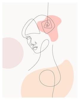 Femme minimale dessinée à la main avec des fleurs un style de ligne dessin arta