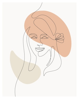 Femme minimale dessinée à la main avec des fleurs un style de ligne dessin au trait