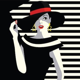 Femme de mode dans le style pop art.