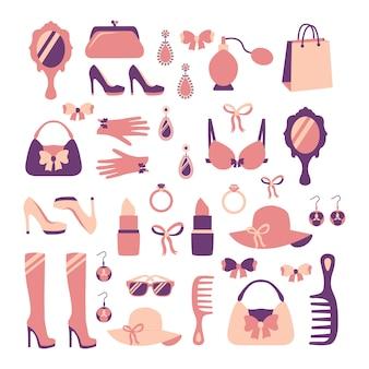 Femme mode élégant casual shopping collection d'accessoires isolé illustration vectorielle