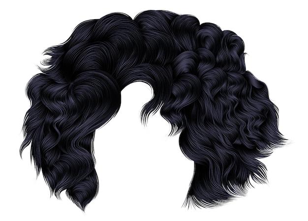 Femme à la mode poils courts brune noir foncé couleurs .fringe. style de beauté de la mode 3d réaliste.