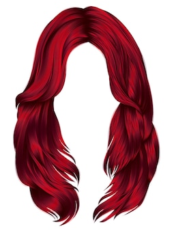 Femme à la mode poils longs couleurs rouges. 3d graphique réaliste