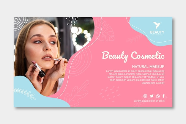 Femme avec modèle de bannière de maquillage