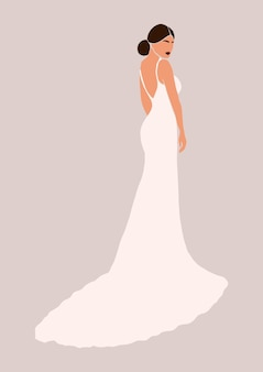 Femme moderne abstraite en robe de mariée