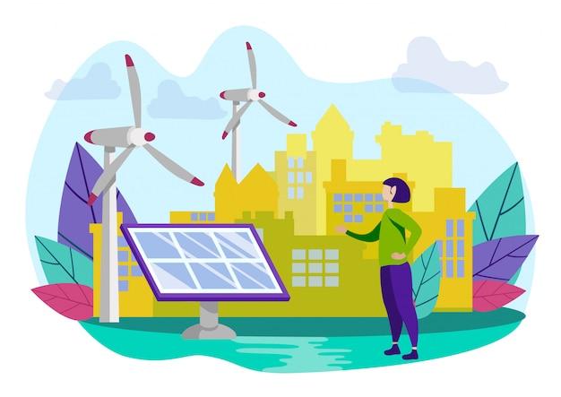 Femme montre la main sur une batterie solaire à l'usine