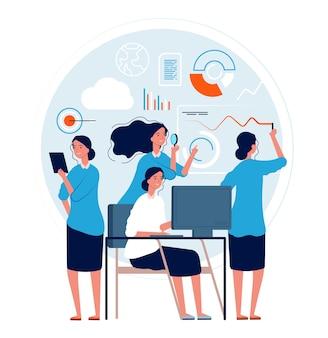 Femme multitâche. l'action de la femme d'affaires pose de nombreux processus de gestion des tâches de projets