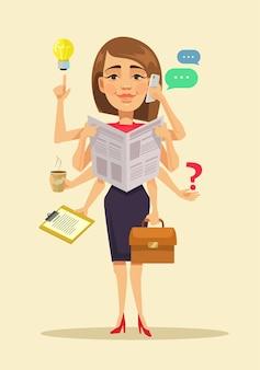 Femme multitâche, illustration de dessin animé plat
