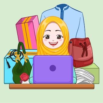 Femme musulmane, achats en ligne