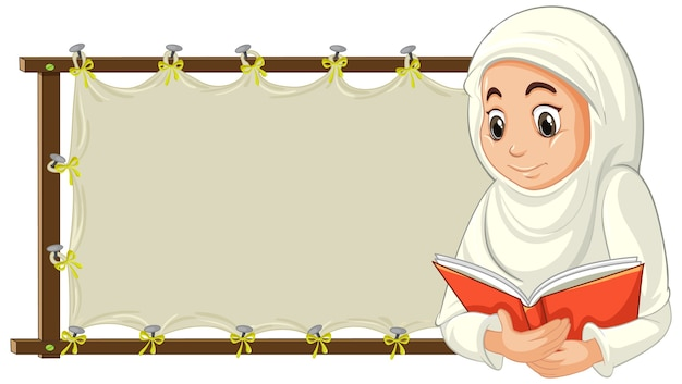 Femme musulmane arabe en costume traditionnel avec bannière vierge