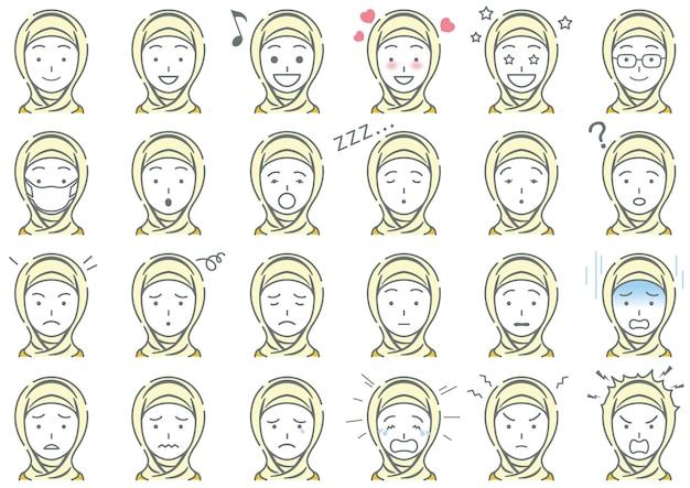 Femme musulmane, diverses expressions faciales, ensemble, isolé