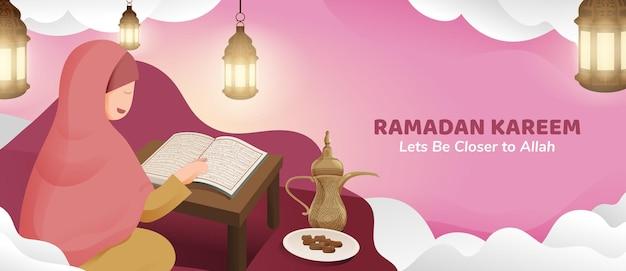 Femme musulmane lisant le coran dans le mois sacré du ramadan kareem avec lanterne et dates illustration