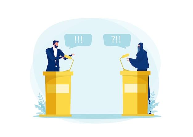 Une femme musulmane parle d'un débat sur le port du hijab avec un homme politique