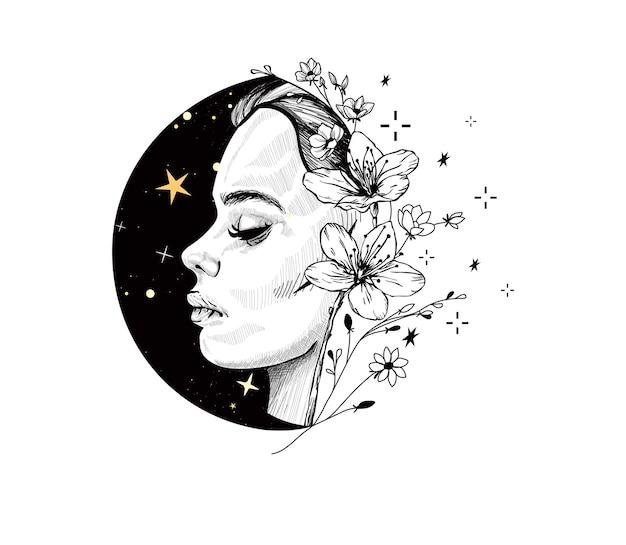 Femme mystique avec des fleurs et des étoiles sorcière céleste