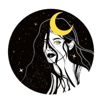 Femme mystique lune céleste et étoiles sorcière