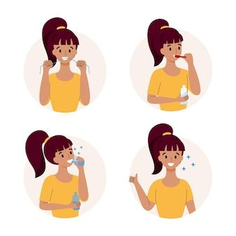 Une femme nettoie ses dents et observe l'hygiène bucco-dentaire.
