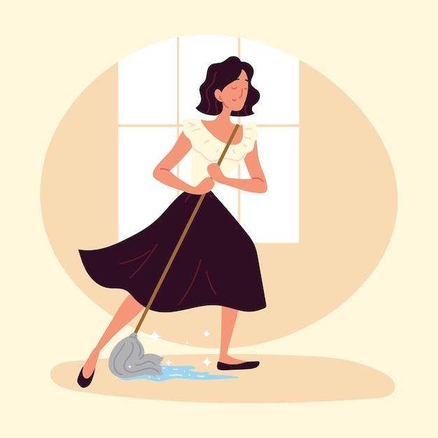 Femme, nettoyage, plancher