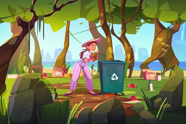 Femme nettoyer la forêt et la plage