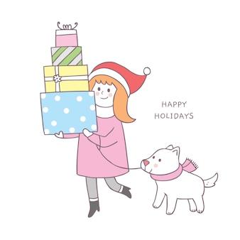 Femme de noël mignon de bande dessinée et vecteur de shopping de chien.