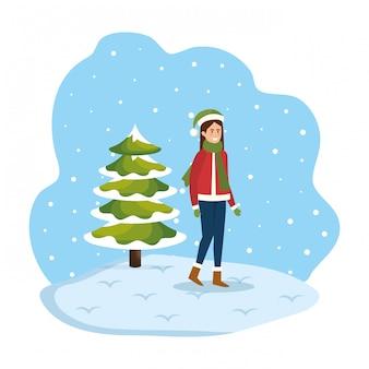 Femme, noël, pull, chapeau, snowscape