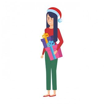 Femme, noël, vêtements, cadeau