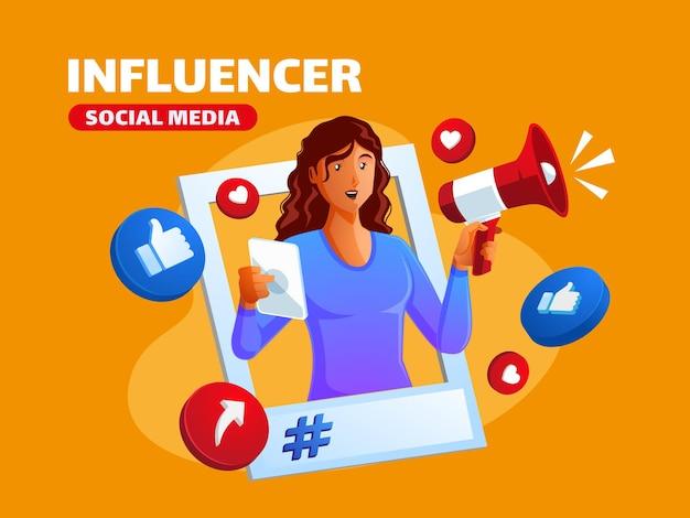 Une femme noire devient une influenceuse et fait la promotion des médias sociaux avec un mégaphone