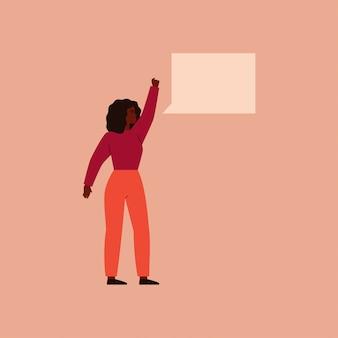Une femme noire a levé la main en la serrant dans un poing et dit quelque chose avec une bulle de dialogue. vecteur