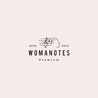 Femme note musique logo vector icon illustration