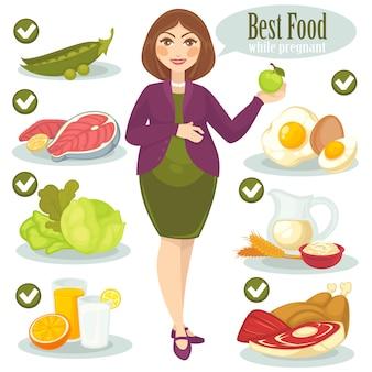 Femme, nourriture saine pour les femmes enceintes.