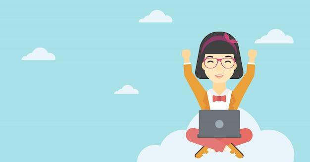 Femme, nuage, ordinateur portable
