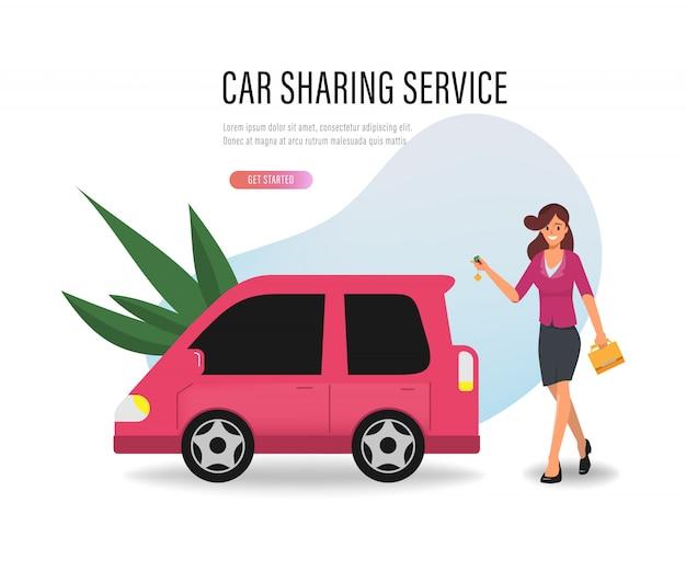 Femme obtenir un service de partage de voiture.