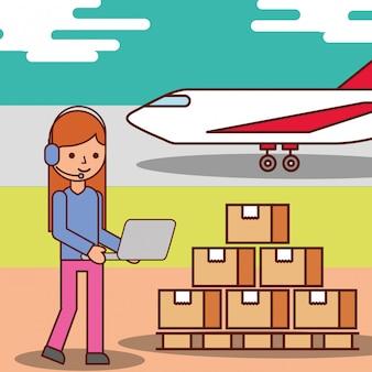 Femme, opérateur, dessin animé, logistique, boîtes carton, et, transport avion