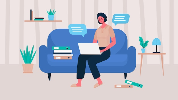 Femme avec ordinateur portable assis sur la chaise