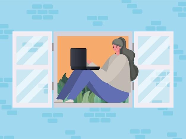 Femme avec ordinateur portable travaillant à la conception de la fenêtre du thème travail à domicile