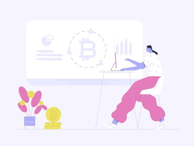Femme avec ordinateur regardant l'illustration plate de profit bitcoin