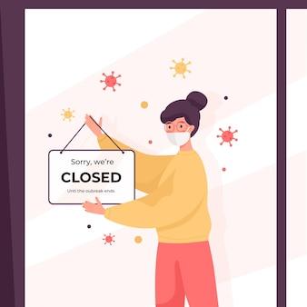 Femme organique accrocher un panneau fermé