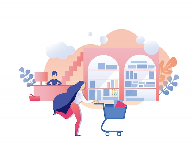 Femme avec panier d'achat dépêchez-vous d'acheter avec une remise