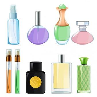 Femme parfums. bouteilles en verre parfumées sur blanc