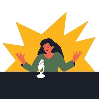 Femme parlant un discours dans un microphone ou enregistrant une illustration de podcast dans un style plat de dessin animé