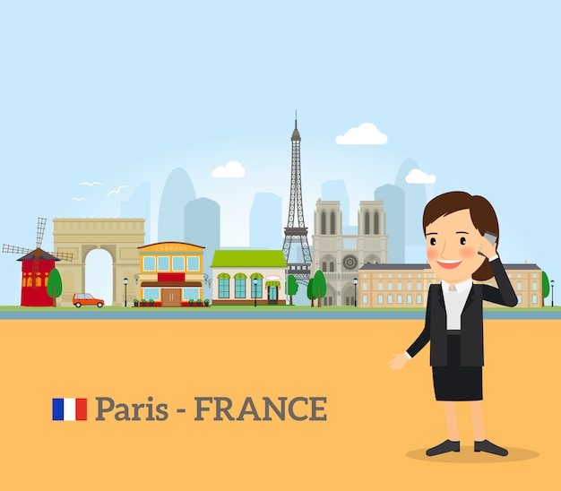 Femme parle au téléphone à paris