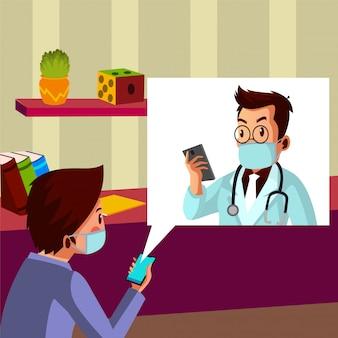 Femme parle avec son mari qui travaille comme médecin au téléphone